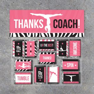 Gymnastics THANKS COACH Mini Candy Bar Wrappers and Treat Toppers