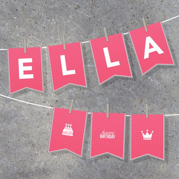 Pink and Grey Birthday Girl Alphabet Banner