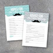 Baby Boy Shower Mustache Advice Cards