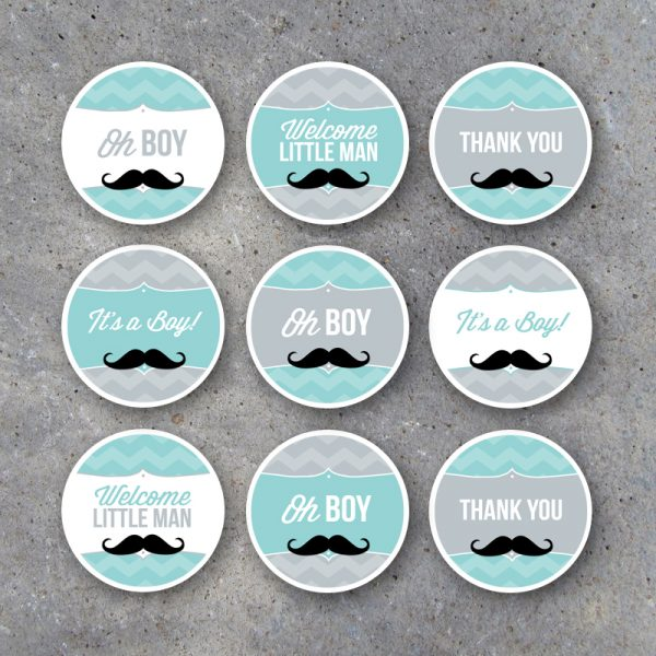 Little Man Baby Shower Cupcake Toppers