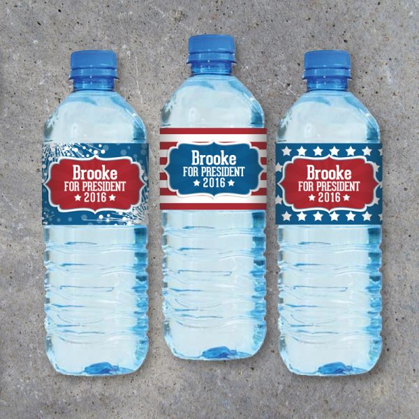 Election Campaign Printable Water Bottle Labels