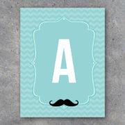 Mustache Alphabet Banner