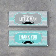 Thank You Baby Shower Mustache Candy Bar Wrappers