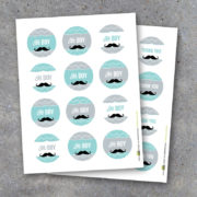 Mustache Boy Baby Shower Thank You Tags