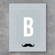 Printable Mustache Alphabet Banner