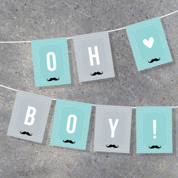 Little Man Baby Shower Banner Party Decor
