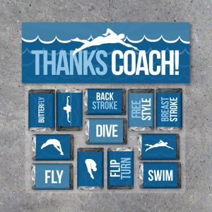 Swimming Thanks Coach Mini Candy Bar Wrappers and Treat Toppers