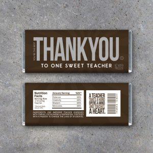 Thank You Teacher Appreciation Candy Bar Wrappers
