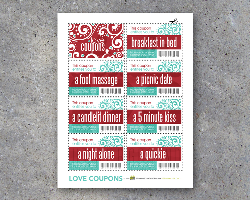 Love Coupons For Him Printable Instant Download Studio