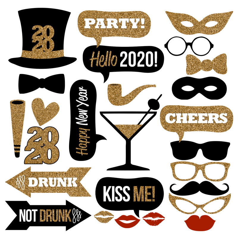 2020 Gold Glitter New Year's Eve Photo Booth Props