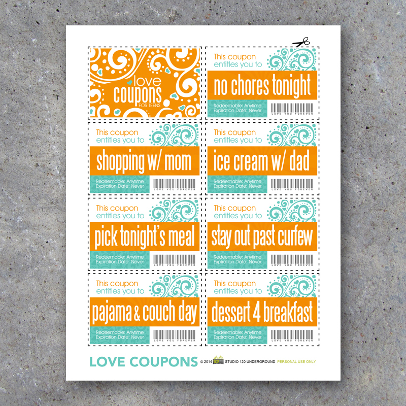 Love Coupons For Teens Printable Instant Download