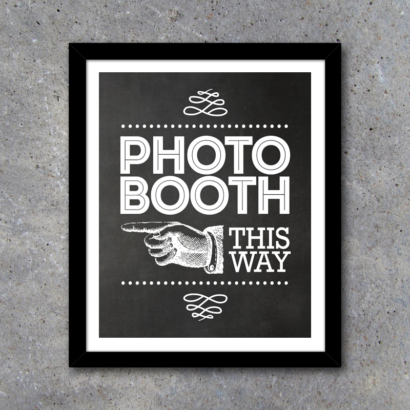 Photo Booth Sign And Directional Signs Printable Instant