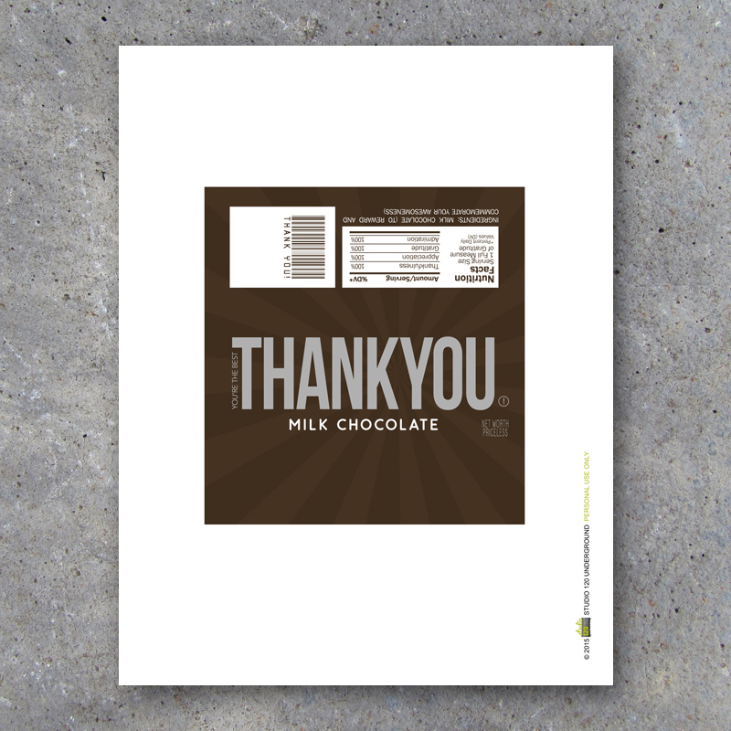 thank you candy bar wrappers printable instant download