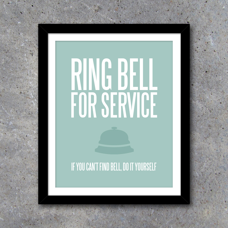 Ring Bell For Service - Laundry Room Wall Art - Kitchen Wall Art -  Printable Instant Download