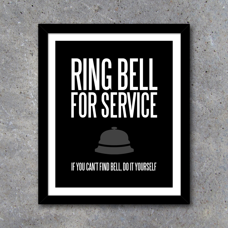 Ring Bell For Service Laundry Room Wall Art Kitchen
