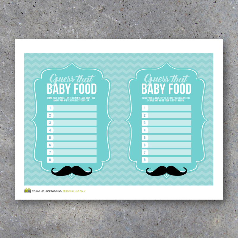 Little Man Baby Shower Guess That Baby Food Game With Baby