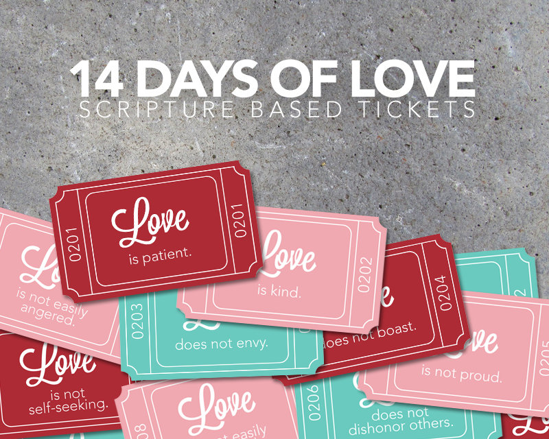 14 Days of Love Scripture Based Tickets – Valentine's Day Countdown – Printable Digital File – Instant Download – Love Tickets – Love Notes