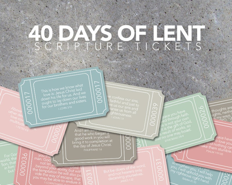 40 Days of Lent Scripture Tickets – Countdown to Easter – Scripture Memory Verses – Printable File – Instant Download – Scripture Tickets