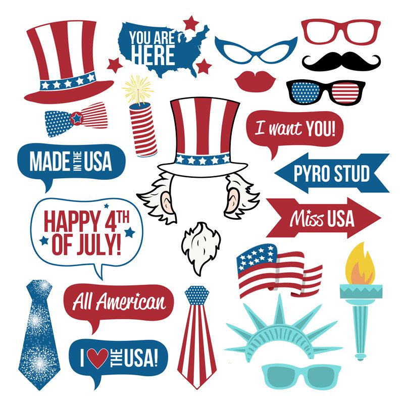 4th of July Photo Booth Props Collection–Printable Instant Download–All American Independence Day Party Fun-Fourth of July Photo Props