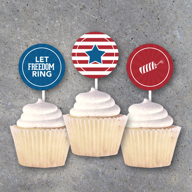 4th of July Tags – Printable Cupcake Toppers, Party Favors, Gift Tags, Stickers and Holiday Decor – Independence Day – Instant Downloads