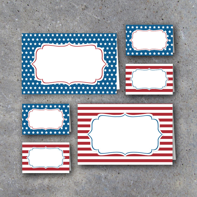 4th of July Tent Cards in Red, White & Blue – Instant Download Printable Files – Independence Day Tents for food buffets / name place cards