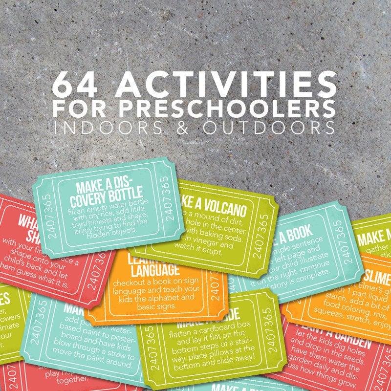 64 Activities for Preschoolers Tickets – Creative Indoor & Outdoor Ideas – Connect with Your Preschooler – Printable File – Instant Download