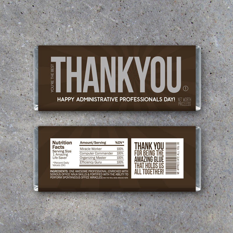 Administrative Professionals Day Gift – Printable THANK YOU Candy Bar Wrappers Instant Download – Administrative Assistant or Secretary Gift