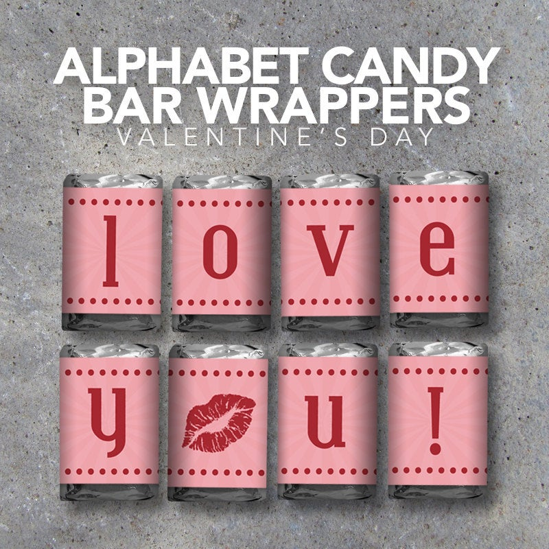 Alphabet Candy Bar Wrappers – Valentine's Day – Mini Candy Bar Wrappers – Alphabet, Numbers, Punctuation & Icons – Valentine's Day gift