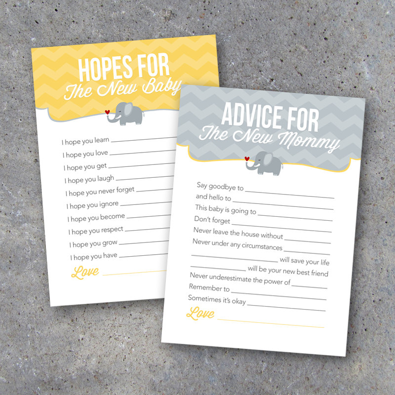 Baby Shower Advice Cards – Instant Download – Printable 5×7 Elephant Gender Neutral Advice Cards for Mommy-to-be & Hope Cards for New Baby