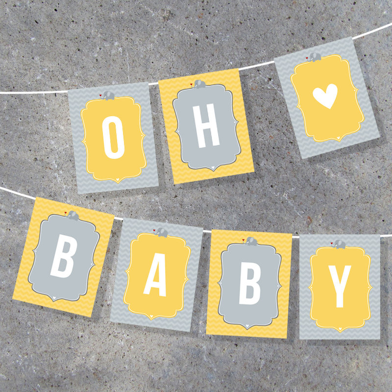 Baby Shower Banner – Printable Digital Files – Complete Alphabet + Bonus Images – DIY Party Decor – Cute Elephant – Pennant – Boy or Girl