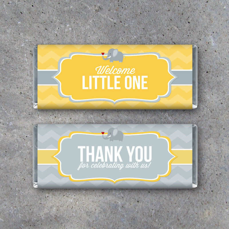 Baby Shower Candy Bar Wrappers – Printable DIY – Welcome & Thank You Messages – Cute Elephant Baby Gender Neutral – Baby Shower Party Favors