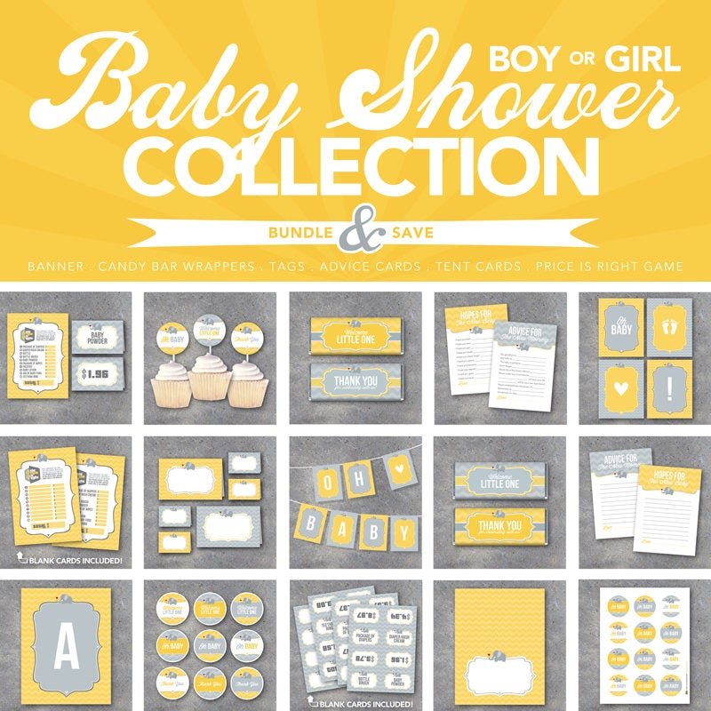 Baby Shower Collection – Printable DIY Party Decor & Favors –Banner, Candy Bar Wrappers, Tags, Advice Cards, Tent Cards, Price is Right Game