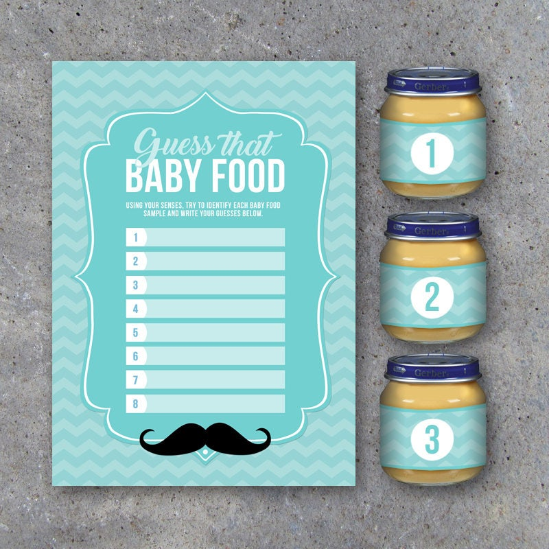 Baby Shower Guess That Baby Food Game with Baby Food Jar Labels – Printable Little Man Instant Downloads – Party Game for Baby Boy Showers
