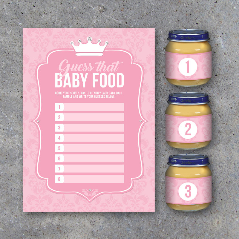 Baby Shower Guess That Baby Food Game with Baby Food Jar Labels – Printable Little Princess Instant Downloads – Party Game for Baby Showers