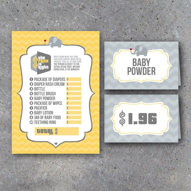 Baby Shower Price Is Right Game Set with Price Tag Tent Cards – Printable Instant Download – DIY Party Game for Gender Neutral Baby Showers