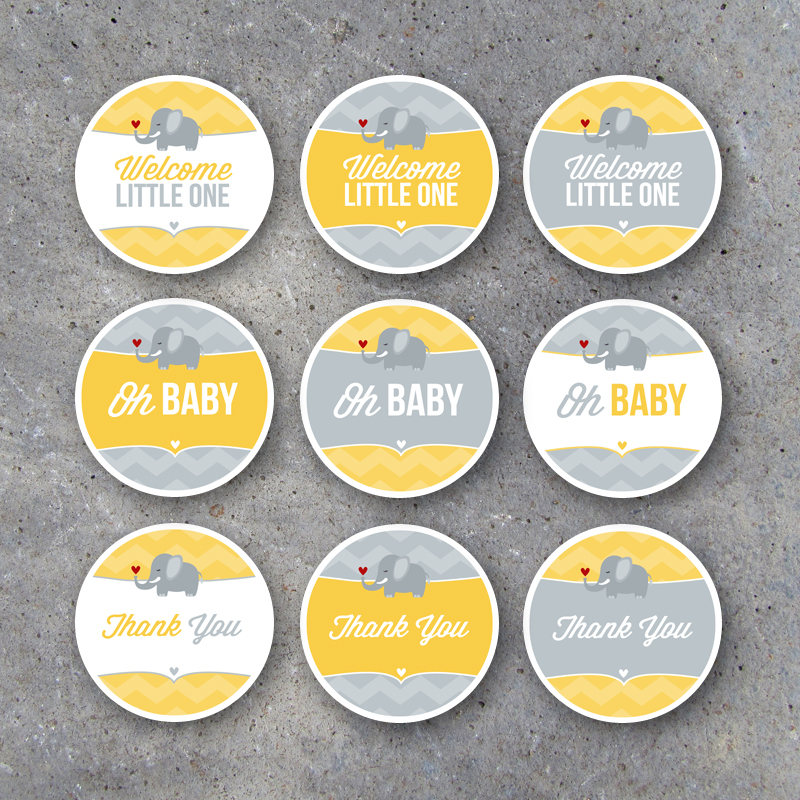 "Baby Shower Tags & Cupcake Toppers – Instant Download – Cute Elephant Gender Neutral 2"" Circles for Gift Tags, Candles, Treats, Party Favors"