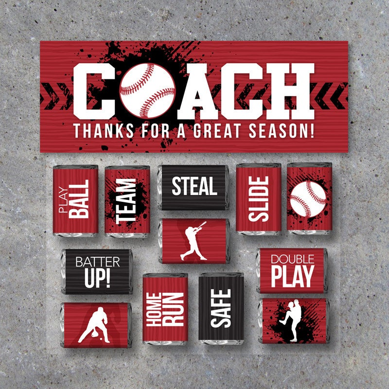 Baseball Coach Gift in Red – Printable Baseball Mini Candy Bar Wrappers & Matching Treat Topper – Coach Thank You Gift – End of Season Treat