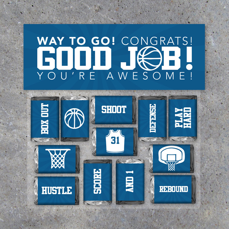 Basketball GOOD JOB! Gift – Printable Basketball Mini Candy Bar Wrappers & Matching Treat Topper in Blue – Basketball Treats – Congrats Gift