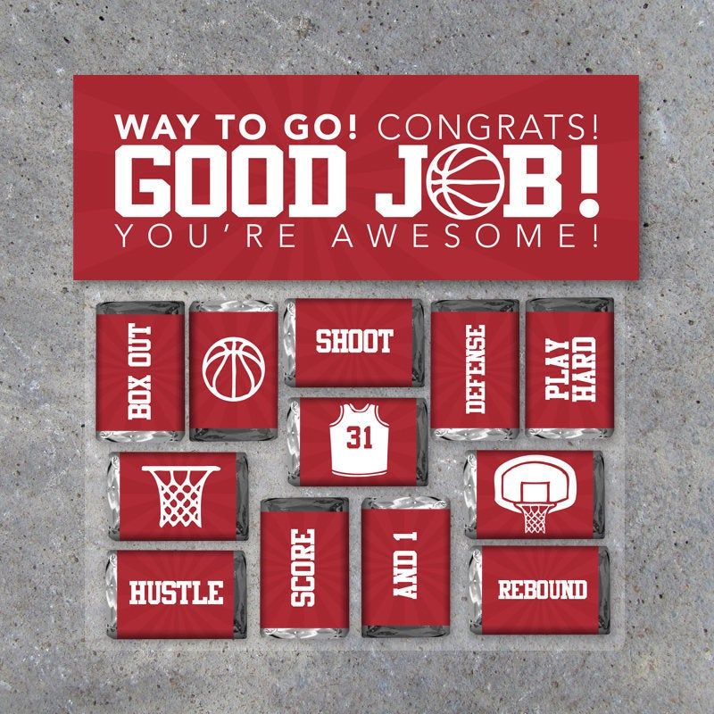 Basketball GOOD JOB! Gift – Printable Basketball Mini Candy Bar Wrappers & Matching Treat Toppers in Red – Basketball Treats – Congrats Gift