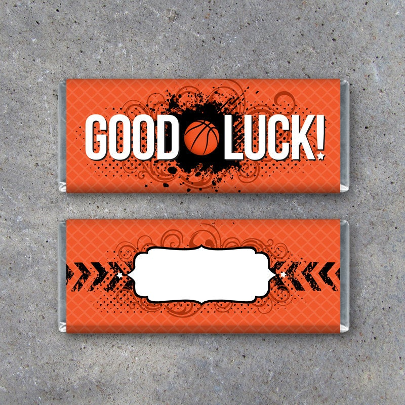 Basketball GOOD LUCK Candy Bar Wrapper – Printable Instant Download Wrapper for locker treats and pre-game goodie bags – basketball gifts