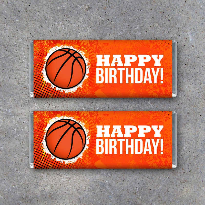 Basketball Happy Birthday Candy Bar Wrapper – Printable Instant Download – Birthday Present, Birthday Party Favors, Birthday Gift Tags
