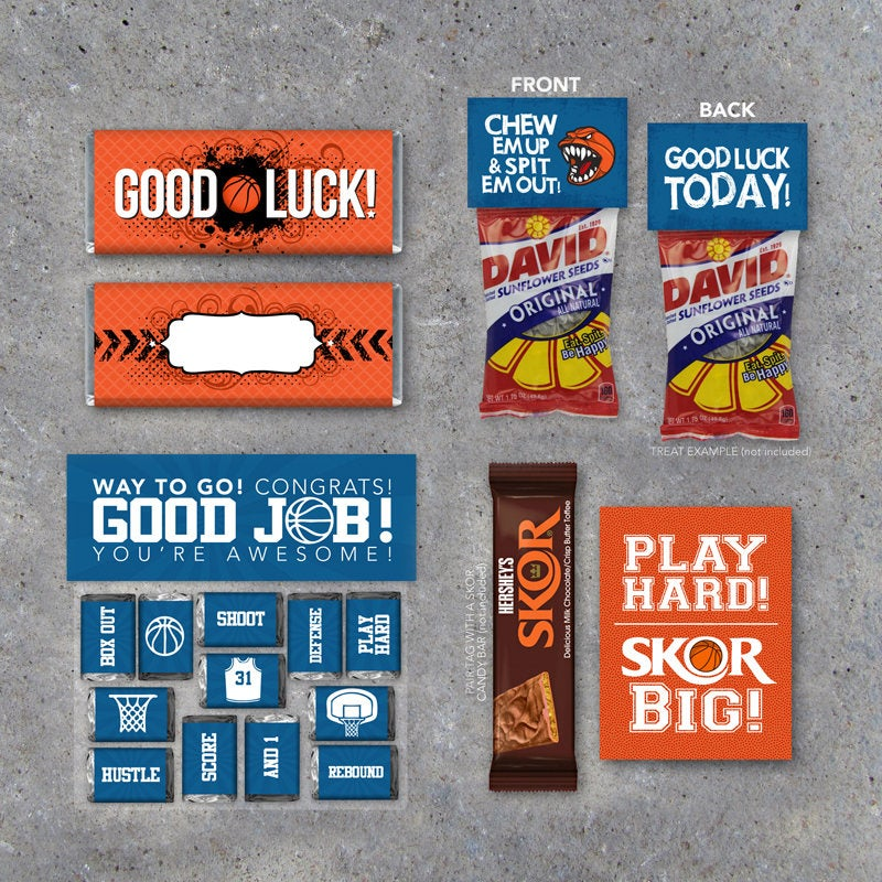 Basketball Treats Collection – Printable basketball gifts – GOOD LUCK candy wrappers, treat toppers and tags for bb game day locker treats