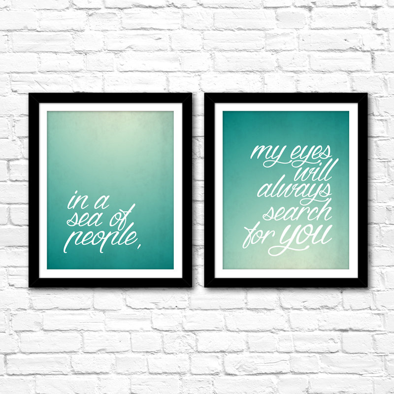 """Bedroom Art Set – """"In A Sea of People"""" 8×10 Printables – Instant Download – DIY Home Decor Gallery Wall Ideas – Anniversary Valentine's Gift"""