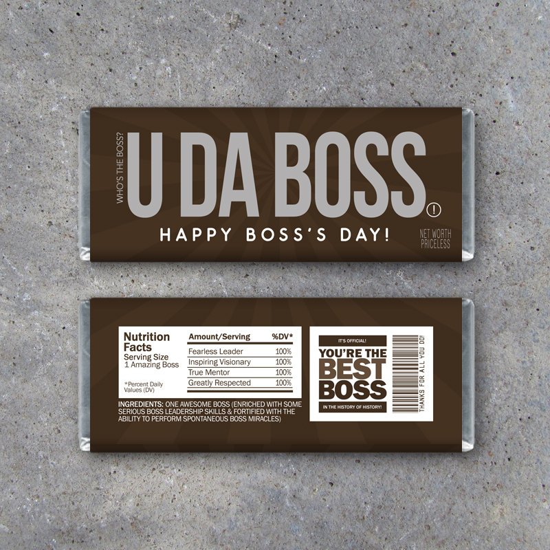 Boss's Day Gift – Printable Happy Bosses Day Candy Bar Wrapper – Funny Boss Gift – Instant Download Bosses Day Card + BONUS Generic Version
