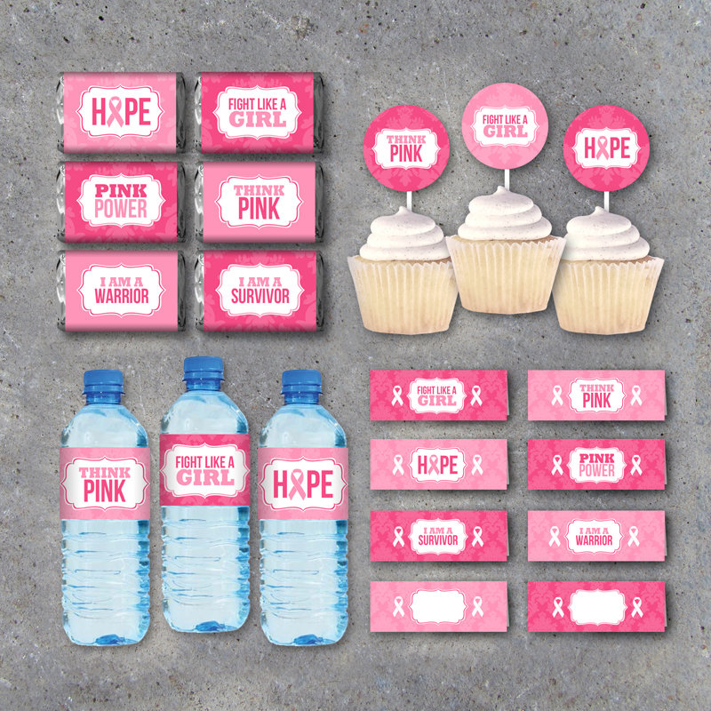 Breast Cancer Awareness Collection – Printable instant download candy wrappers, water bottle labels, tags, cupcake toppers & treat toppers