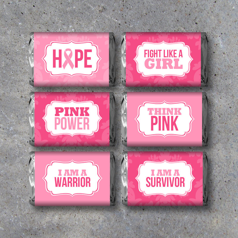 Breast Cancer Awareness Mini Candy Bar Wrappers – Printable DIY Hershey's Miniatures Pink Ribbon Labels – Cancer Favors – Survivor Gift Idea