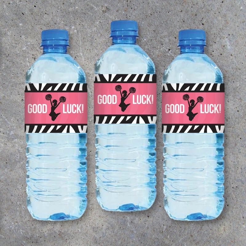Cheerleader GOOD LUCK Water Bottle Labels – Printable Instant Download – Cheer Gifts – Cheer Competition Gift – Pink with Zebra Stripes