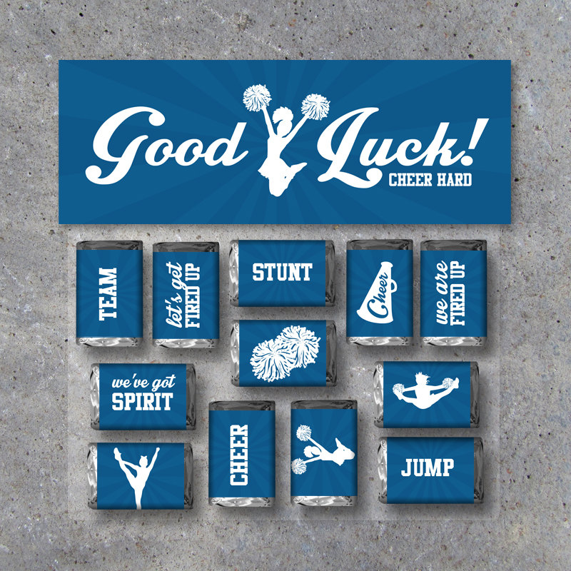 """Cheerleading Mini Candy Bar Wrappers and Matching Treat Toppers featuring """"Good Luck"""" or """"Great Job""""! Printable Instant Download in Blue"""