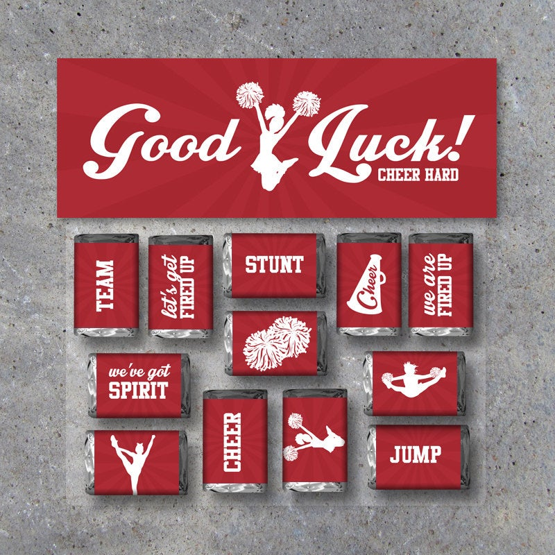 "Cheerleading Mini Candy Bar Wrappers and Matching Treat Toppers featuring ""Good Luck"" or ""Great Job""! Printable Instant Download in Red"