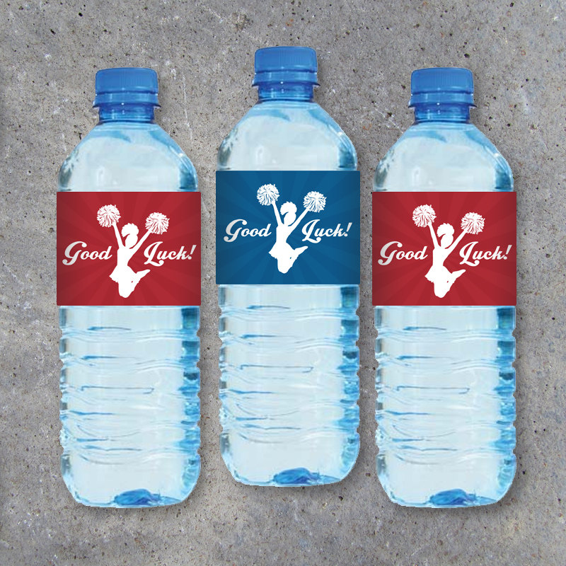 """Cheerleading Water Bottle Labels featuring """"Good Luck"""" or """"Great Job""""! – Printable Instant Download in Red & Blue – Sports Drink Label Wraps"""